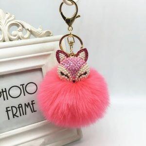 Crystal & Pearl Fox Hot Pink Pom Pom Keychain